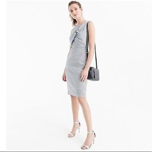 J. Crew Drape Knot Windowpane Dress Irish Linen